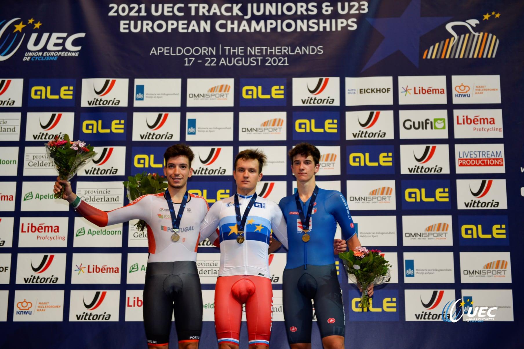 Il podio del Campionato Europeo Corsa a punti Under 23 2021 (foto UEC/BettiniPhoto)