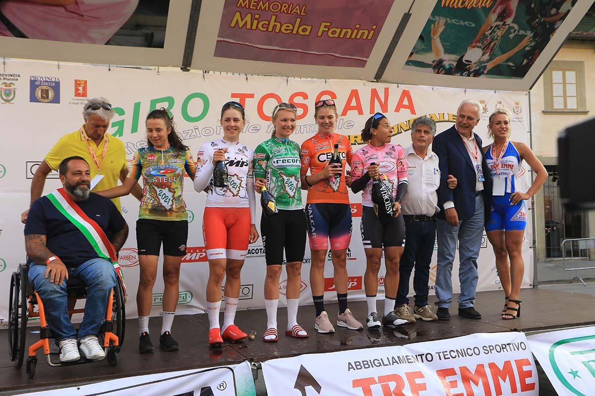 Le maglie dopo il cronoprologo del Giro della Toscana femminile 2021 (foto Fabiano Ghilardi)