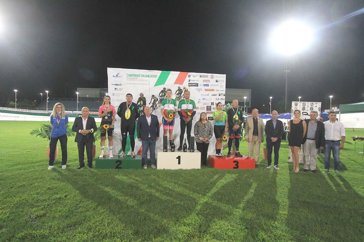 Il podio del Campionato Italiano Derny 2021 femminile vinto da Martina Alzini a Pordenone