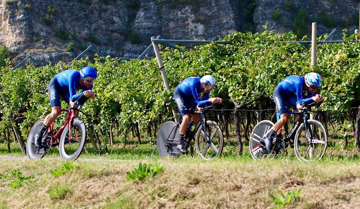 Ganna, Sobrero e De Marchi in azione all'Europeo Mixed Relay di Trento (foto Photobicicailotto)