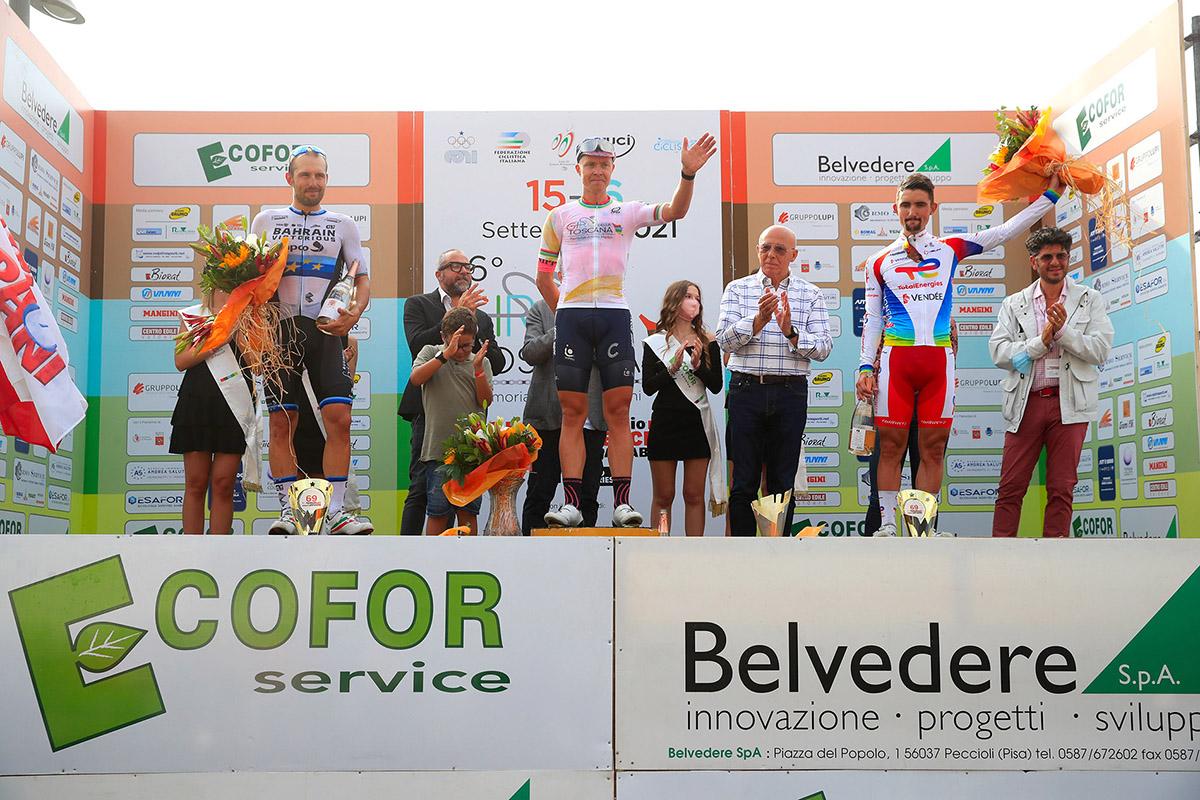 Michael Valgren a Peccioli con la maglia di vincitore della Challenge Alfredo Martini (foto BettiniPhoto)