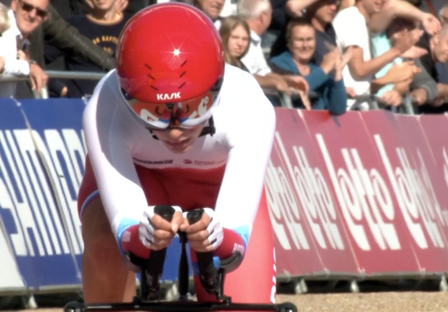 Alena Ivanchenko in azione al Mondiale a cronometro Donne Junior Fiandre 2021