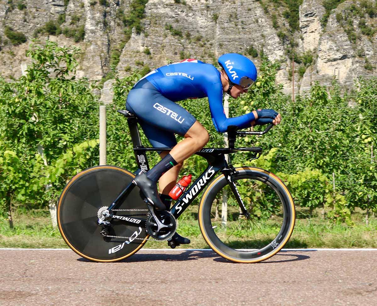 Samuele Bonetto in azione al Campionato Europeo cronometro Juniores (foto Photobicicailotto)