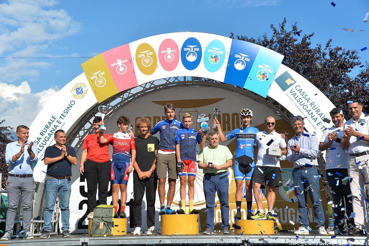 Il podio della Coppa di Sera Esordienti 1° anno 2021 (foto Daniele Mosna)