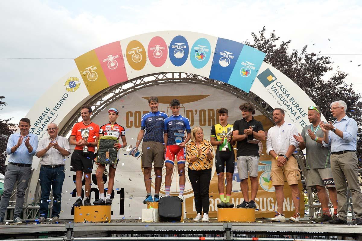 Il podio della Coppa di Sera Esordienti 2° anno 2021 (foto Daniele Mosna)